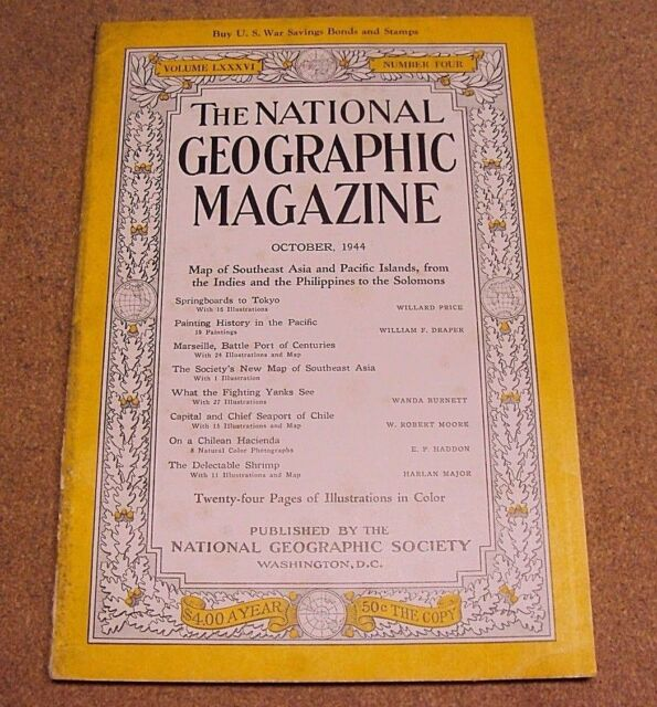 National Geographic October 1944 Tokyo Marseille Yanks See Chile Shrimp Coke Ads