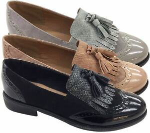 Women Tassel Ladies Pattent On Oxford Brogue Office Slip Shoes BdCeoxr