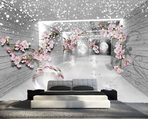 papier peint 3d trompe l oeil moderne photo murale 3d fleur nature 031 ebay. Black Bedroom Furniture Sets. Home Design Ideas