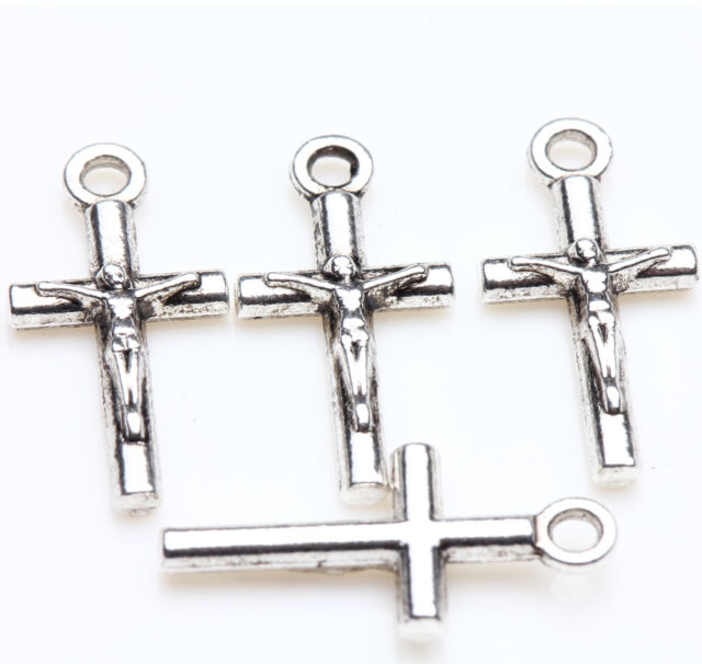 New 25pcs Tibet Silver Cross Beads Pendant Jewelry Findings Bracelet 21x9mm DIY