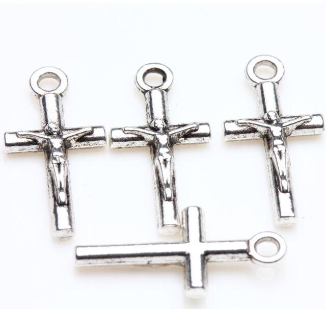 New 25pcs Tibet Silver Cross Beads Pendant Jewelry Findings Bracelet 21x9mm DIY