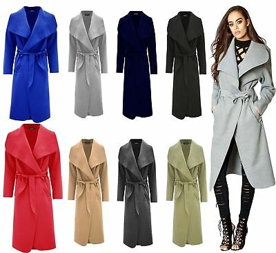 Bescheiden Ladies Plain Long Duster Coat Italian Women Waterfall French Belted Jacket Dress