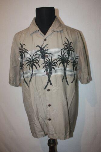 PARADISE FOUND Sz L Silk Hawaiian Shirt Tan with G
