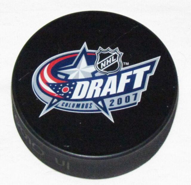 2007 NHL HOCKEY ENTRY DRAFT SOUVENIR PUCK Columbus Blue Jackets WHITE BACK ERROR