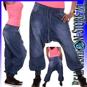 Haremshose Pumphose Pluder Boyfriend Sarouel-Aladin Harem Kordelzug Jeans S-XL