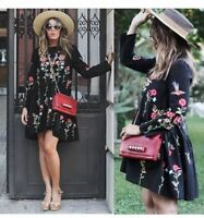 Autumn Women NEW AW 2016 EMBROIDERED BOHO DRESS LONG SLEEVE BLACK SIZES XS S M