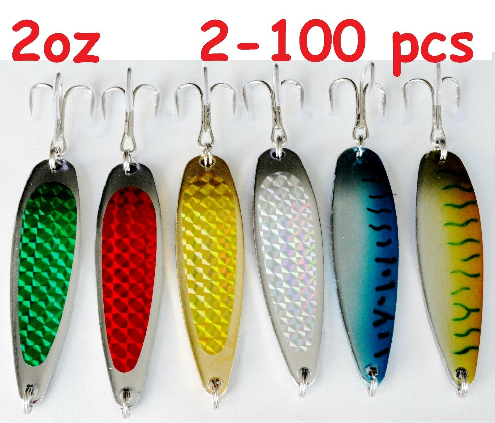 2oz Crocodile Casting Spoons Fishing Lures-Choose color and Qty (2 to 100)