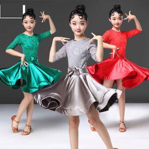 Image is loading Girls-Dancewear-Latin-Dance-Dress-Costume-Competition-Kids- 51c2a25147ee