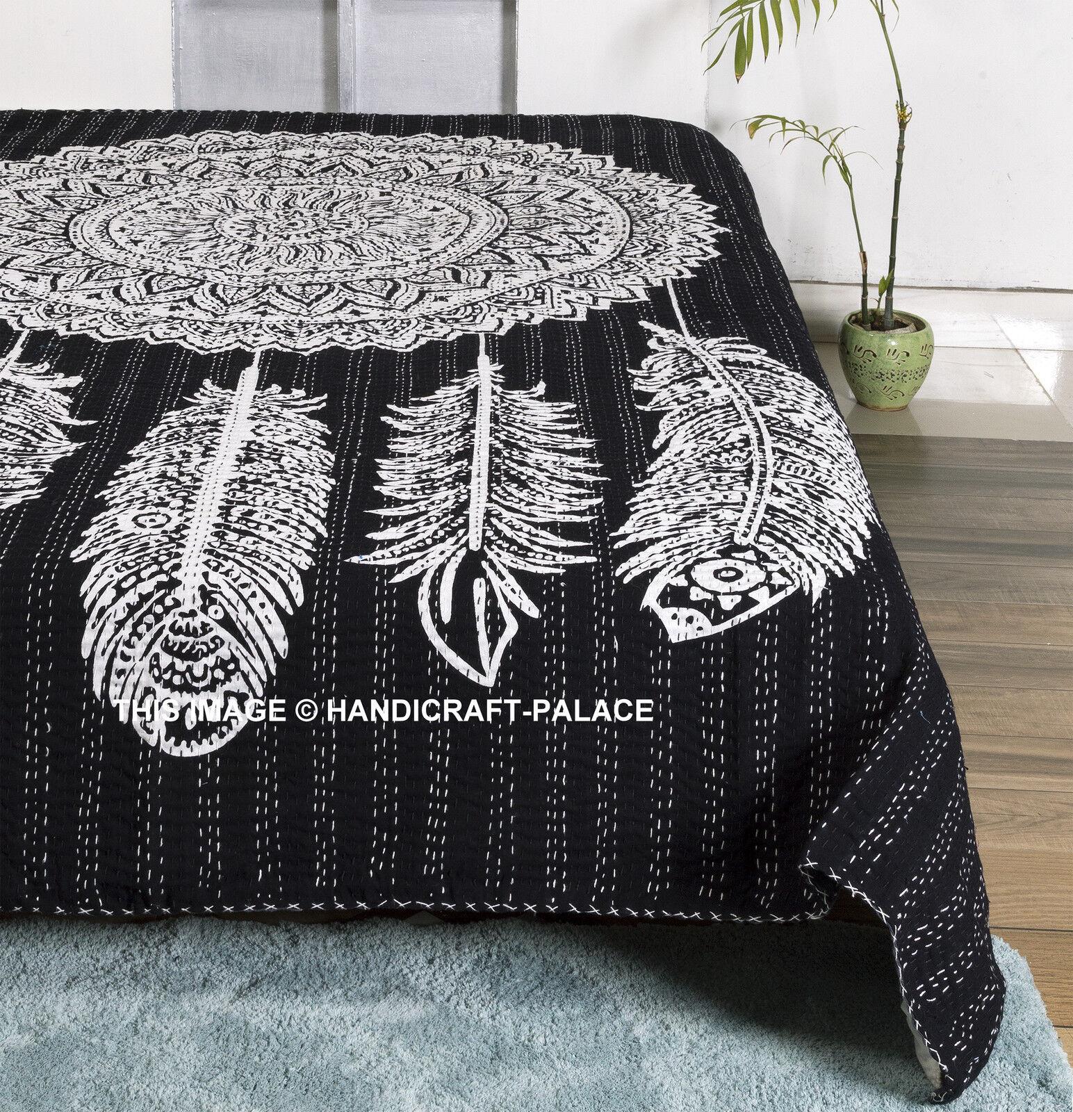 Indian Dream Catcher Kantha Quilt Handmade Bedding Bedspread Queen Größe Blanket