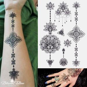 Temporary Tattoo Set Mandala Lotus Flower Henna Tribal Sexy Body