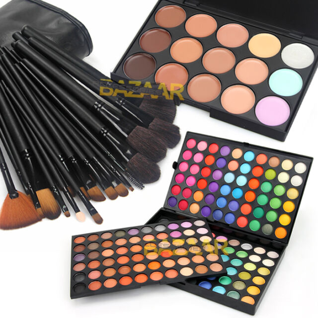 180 eyeshadow +32pcs makeup brush +15 Concealer Shimmer DIY Kit Cosmetic Set New