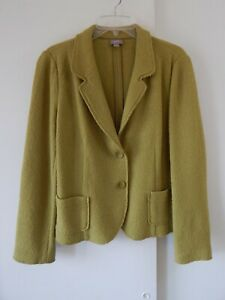 Details about womens lime green J JILL jacket blazer cardigan sweater boiled wool blend M