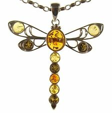 BALTIC AMBER STERLING SILVER 925 DRAGONFLY INSECT ANIMAL PENDANT JEWELLERY GIFT