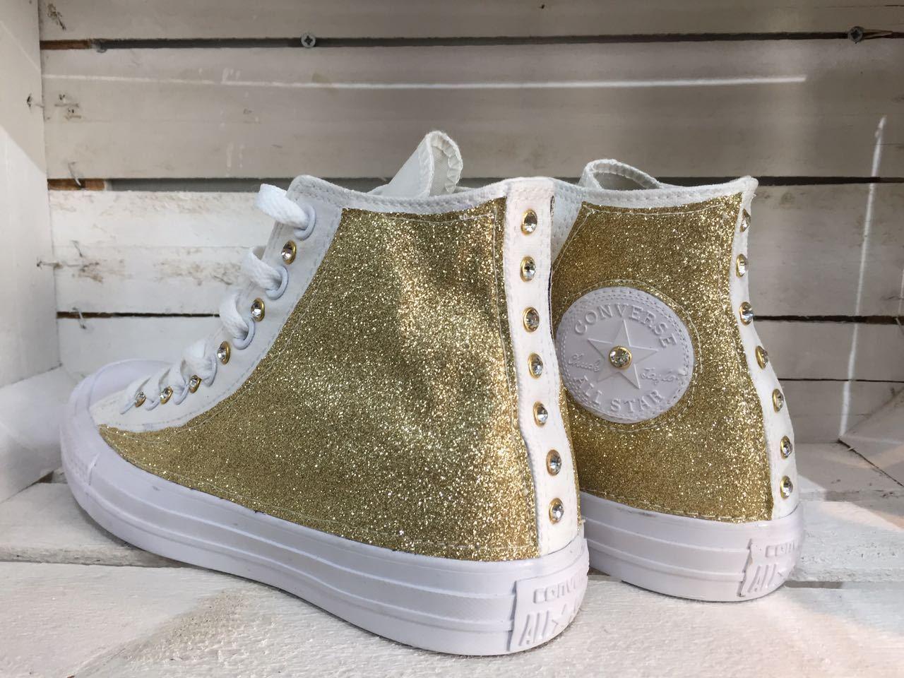 Converse all star borchiate con modello borchie swarovski e glitter modello con monocromo 4e3322
