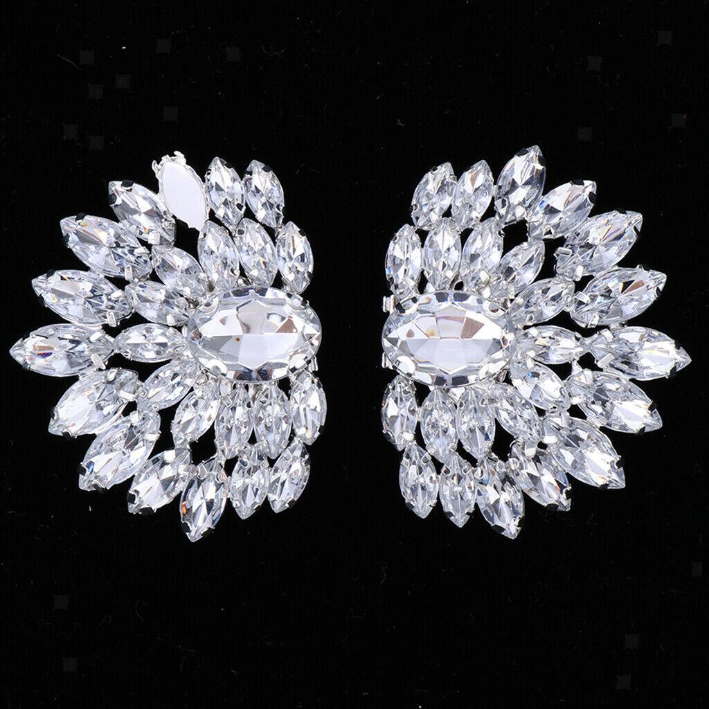 1 Pair Crystal Shoe Buckle Shoe Clip Applique for Bridal Wedding Shoe Decor A