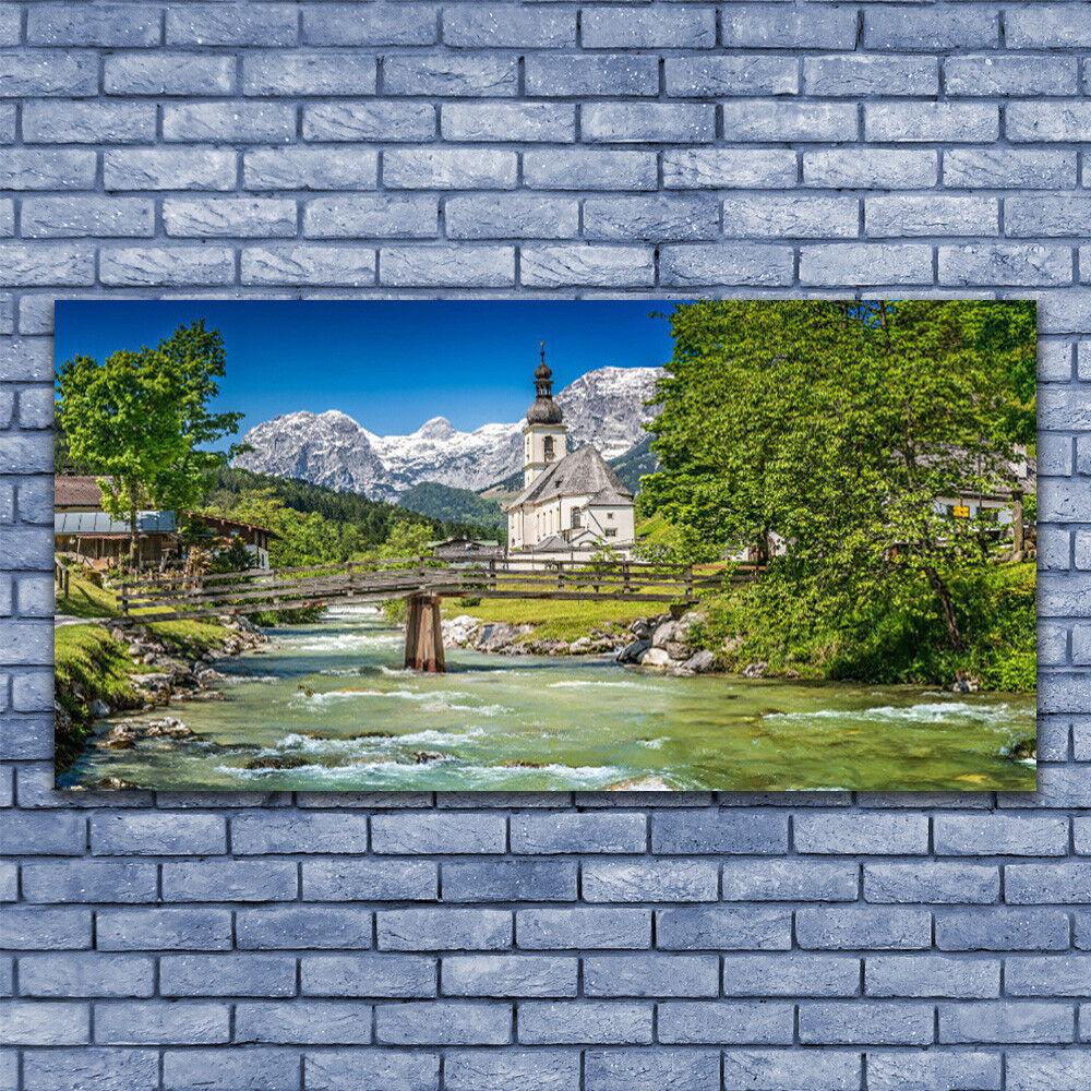 Print on Glass Wall art 140x70 Picture Image Church Bridge Lake Trees Nature