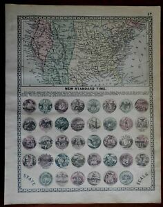 Time-Zones-of-the-United-States-amp-State-Seals-1892-Tunison-map-print