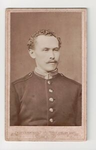 Vintage-CDV-German-Bavarian-Soldier-Military-Uniform-Klotz-amp-Hentschell-Photo