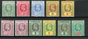 Cayman-Islands-1907-09-set-to-10s-6d-shade-MLH-MH