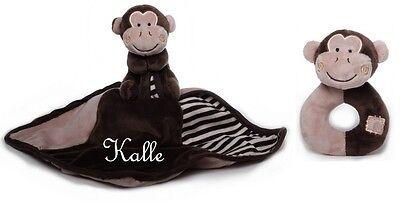 Schmusetuch Kuscheltuch Affe Äffchen Schnuffeltuch für Mädchen Jungen mit Namen