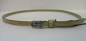 4e216efb6 GUCCI Thin Tan GG Interlock Logo Embossed Leather Skinny Waist Belt ...