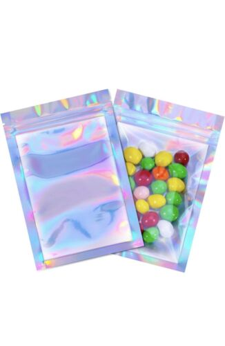 100Pcs Holographic Rainbow Laser Double-Sided Small Mylar Foil Bags 4x6