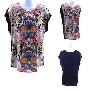DR2-by-Daniel-Rainn-Blue-Floral-Cap-Sleeve-Top-Casual-Womens-Blouse-Shirt