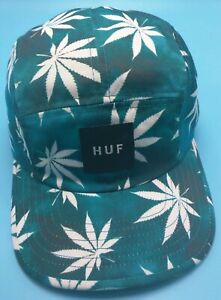 HUF-5-panel-style-floral-print-green-white-adjustable-cap-hat