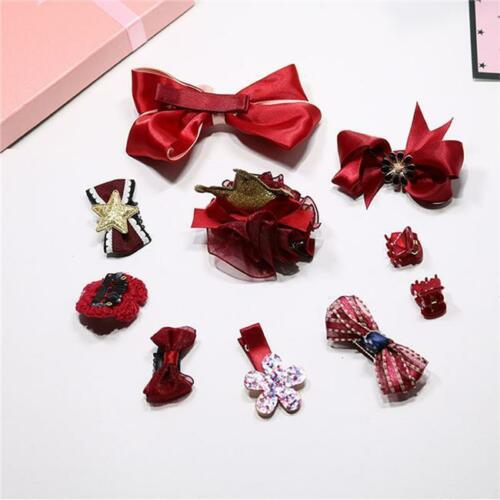 10Pcs Girl Bow Hairpin Ribbon Bowknot Flower Style Hair Clip Xmas Gift N7
