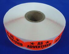 1000 Self Adhesive As Advertised Labels 15 X 075 Stickers Retail Supplies