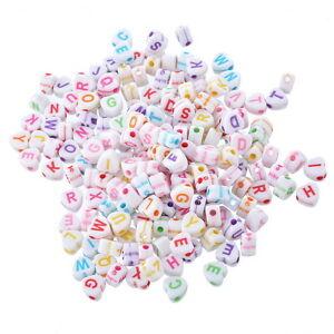 500-Mix-Acryl-Mehrfarbig-Buchstaben-Spacer-Perlen-Beads-Weiss-Herz-6-8x6-5mm