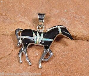Multi color black onyx fire opal inlay 925 sterling silver horse image is loading multi color black onyx amp fire opal inlay aloadofball Gallery