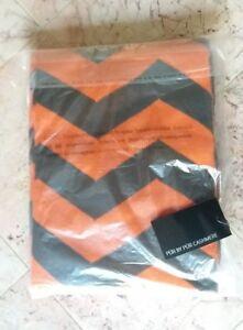 NEW-Pur-Cashmere-Signature-Blend-Woven-Chevron-50x65-Blanket-Orange-amp-Brown