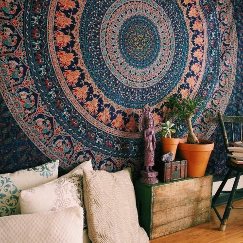 Indian Mandala Bedding Bedspread Coverlet Bohemian Wall Hanging Tapestry Throw
