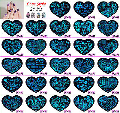 28Pcs Love-Style Manicure Template Nail Art Printing Image Polish Stamp Plates