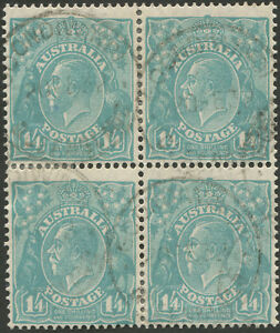 KGV-Sml-Multi-Wmk-Perf-13-x-12-1-4-Greenish-Blue-commercially-used-block