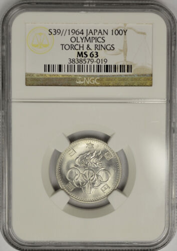 1964 Year 39 Japan Silver 100 Yen, Tokyo Olympics, Torch & Rings, NGC MS 63.
