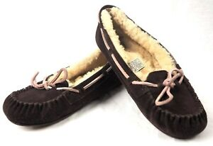6d11501c266 Details about Womens UGG 5466 Espresso Suede And Wool DAKOTA Moccasin  Slippers Shoes - Sz 8