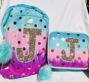 "d193a22a51c8 NWT JUSTICE  Ombre  Foil Dot  Initial ""J""Backpack   Lunch Tote"