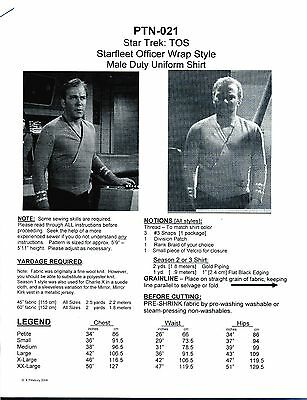 NEW! Star Trek TOS Male Wrap Style Shirt Pattern:  P-XX   [PTN-021]