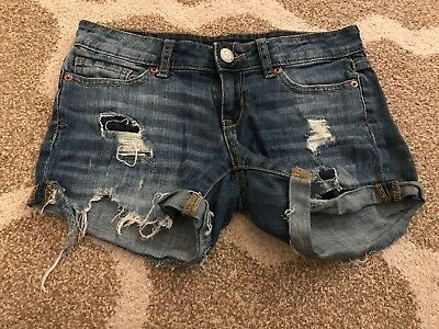 Cutoff Denim Shorts Size 000 Distressed Jeans Selected Material Knowledgeable Women's Aeropostale Midi Shorts