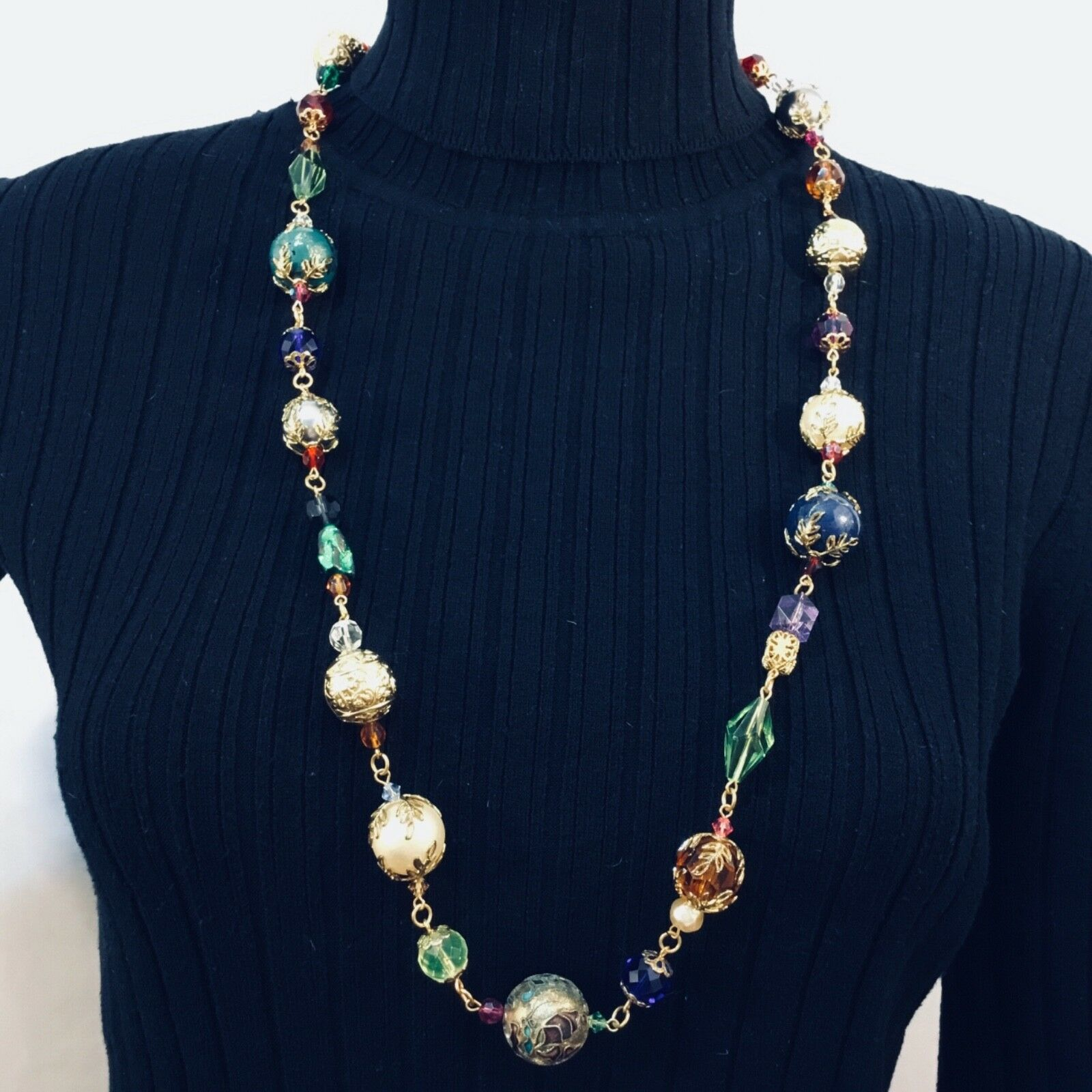 Art.3075 Appealing multi strands old Venetian necklace made of amber and milky white  of small seed glass beads