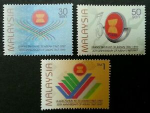 SJ-30th-Anniversary-Of-ASEAN-Malaysia-1997-Flag-Country-stamp-MNH
