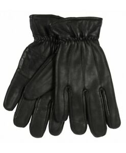 Mens-Black-Leather-Gloves-By-Lorenz-With-Thinsulate-Fleece-Lining-M-New