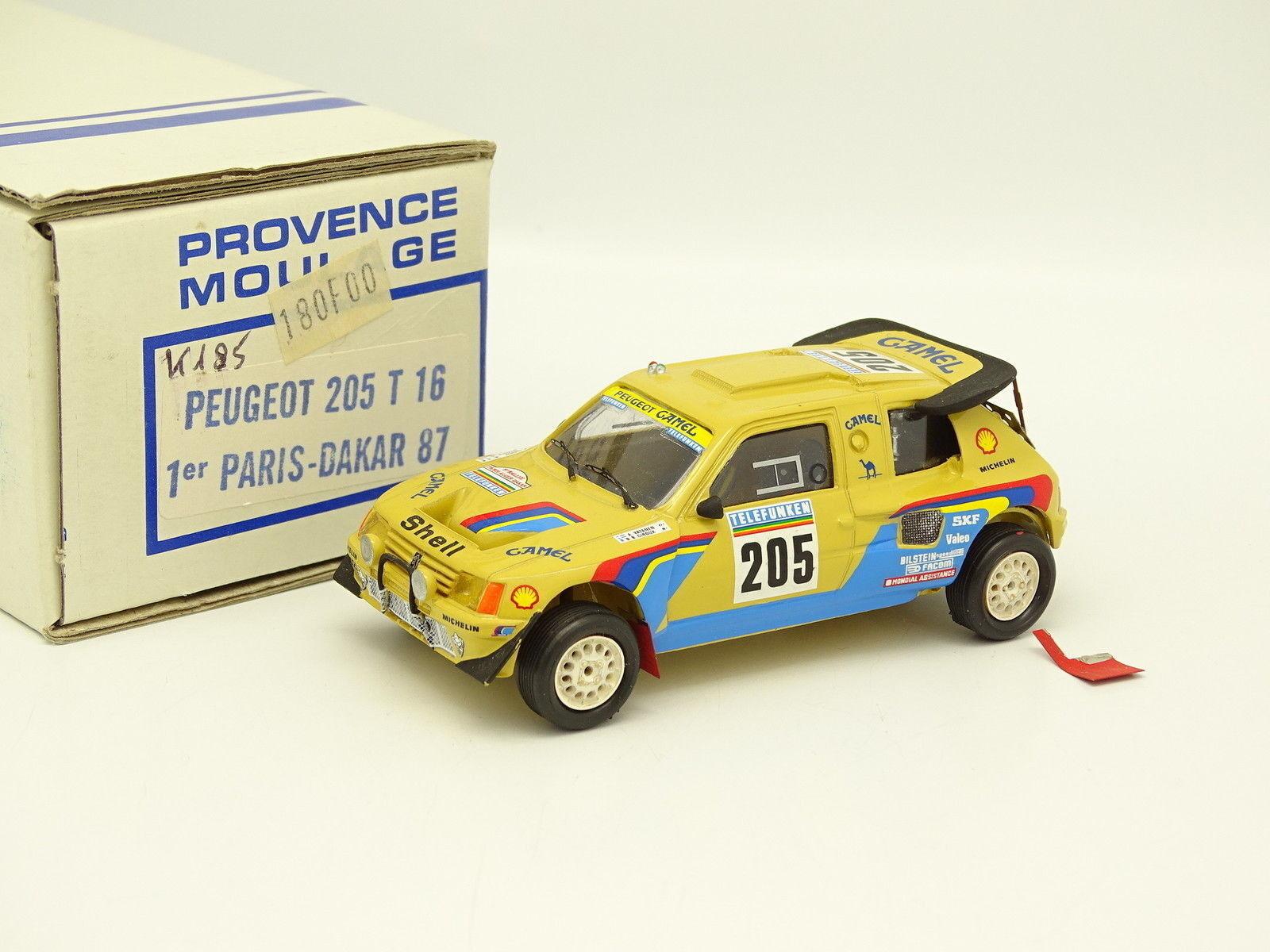 Provence Moulage Kit Monté 1 43 - Peugeot 205 T16 Paris Dakar 87 Winner Vatanen