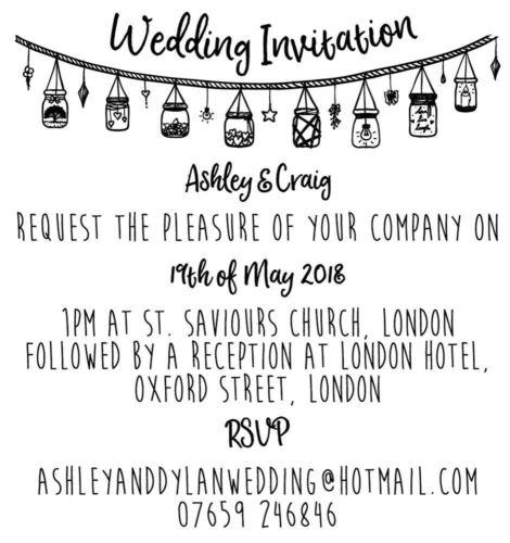 Wedding Invitation jar bunting - Personalised Laser Cut Rubber Stamp