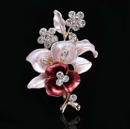 Vintage Femmes Mariage Strass Cristal Perle Fleur Mariage Bouquet Broche PINS