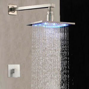 brushed nickel shower faucet set. Image is loading 12 034 LED Head Single Handle Shower Wall  Mounted Brushed Nickel