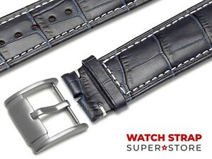 Navy-Blue-Fits-FOSSIL-Watch-Strap-Band-Genuine-Leather-18-22mm-For-Buckle-Clasp