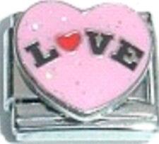 1 x LV113 Single Link CUTIE PIE WHITE LOVE HEART Enamel Italian Charm 9mm